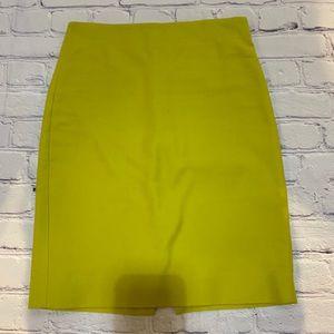 Jcrew chartreuse pencil skirt